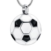 Pendant Necklaces Football Cremation Jewelry For Ashes Memorial Urn Necklace Stainless Steel Soccer Keepsake Holder