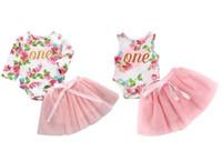 Flower Rompers + Gonna Tutu 2 PC Set Bambini Boutique Abbigliamento 0-2T Bambini Bambini ragazze Abbigliamento per feste di compleanno