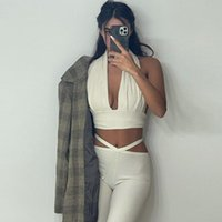Women's T-Shirt Ribbed Women 2 Piece Set Halter Crop Top Bandage Lace Up Leggings Bodycon Streetwear 2021 Summer Tracksuit Outfit Casual