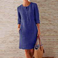 Fashion Summer Solid Color Round Neck Button Pocket Long-sleeved Knee Dress Casual Loose All-match Ladies T-shirt Skirt