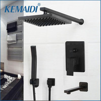 KEMAIDI 매트 블랙 샤워 수도꼭지 세트 비가 숨겨진 욕조 샤워 시스템 벽 마운트 욕조 믹서 콤보 세트