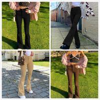 Women's high waist Flared Pant Khaki Black Brown Pants women Jeans trouser
