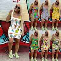 7 colores para mujer vestido de verano Diseñador de dibujos animados Mini falda Sin mangas Sin mangas One Piece Dressclub Plus Size S-XXL Ladys Ropa de verano DHL gratis