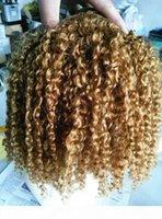 Brasilianische Human Jungfrau Remy Clip Ins Haarverlängerungen Dunkle Blondine 270 # Haar-Schuss Menschliche kinky lockige Haarverlängerungen doppelt doppelt dick dick gedreht