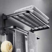 Space fixe aluminium porte-serviettes salle de bain de barre de barre non perforée pendentif r