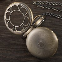 Pocket Watches Double Flip Cover Roman Men Mechanical Watch For Bronze Vintage Hollow Steampunk Fob Chain Necklace Women Gift Clock
