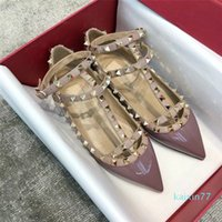 designer Top Luxury Summer Women Sandals Pointed Toe Lady Strappy Ballerina Caged Rivets Ballet Flats Ankle Strap Party Wedding EU35-43