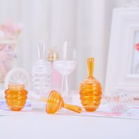 Clear Amber Honecomb Shaped Lip Gloss Tubes with Wand Empty Honey Lipgloss Containers Funny Lip Balm Bottle Dispenser with Rubber GWD10800