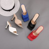 Femme Sandales Marian Sqaure Toe Rouge Quilthed Mule Talons Chaussures PU High Heel Mules Femmes Slipper 9cm 051201