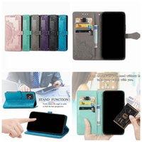 Embossing Datura Flower Leather Wallet Cases For Motorola Edge 20 Lite Pro G6 G50 G60 S G30 Moto G Power 2021 Stylus Play Holder Flip Cover Lace Mandala Henna Purse Strap