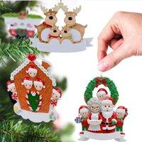 Resin Personalized Deer Family of 2 3 4 5 6 Christmas Tree Ornament Cute Santa Deers Winter Gift Xmas Decorations