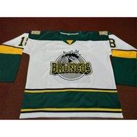 ücretsiz kargo #humboldttstrong vintage 001 # 18 humboldt broncos beyaz hokey forması veya özel herhangi bir isim veya numara retro jersey