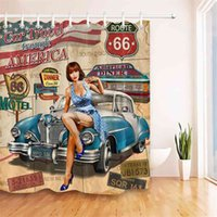 Car Travel Through America Retro Trip Sexy Girl Shower Curtain Set Route 66 Bathroom Fabric Curtains For Bathtub Decor With Hook 210915
