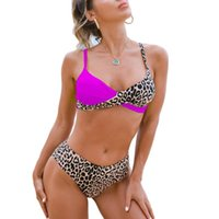 Women's Swimwear 2Pcs Bikini Suit, Low V-neck Patchwork Sling Tops With Leopard Printed Triangle Bottoms For Beach Swimming