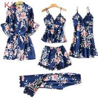 5 조각 여성 잠옷 새틴 잠옷 실크 나이트웨어 잠옷 Femme 레이스 꽃 인쇄 란제리 수면 라운지 Pijama 2020 19DC Y200425