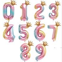 32 بوصة قوس قزح احباط رقم البالون مع تاج ديكور الزفاف الذكرى البالونات اللاتكس الاطفال عيد الهواء الكرة توريد FWB7734