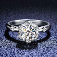 925 Sterling Silver Halo Flor Diamante Casamento 1.0 CT Moissanite Gemstones Noivado Anéis para Mulheres Meninas Jóias Finas