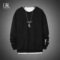 Crewneck Sweatshirt Men Oversized Streetwear Pullovers Hip H...