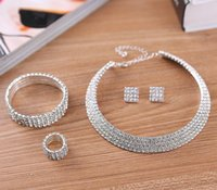 Earrings & Necklace 4 Row Bling Wedding Choker Bracelet Ring Set For Bride Bridesmaid Silver Plated Bridal Jewelry Accessories