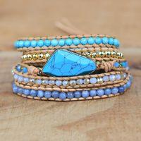 Tennis 2021 Wholesale Natural Stone Charm Wrap Bracelets Handmade Leather Bracelet Gift Jewelrydrop