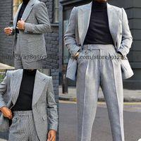 Men's Suits & Blazers 2-Piece Herringbone Business Jacket Wedding Tuxedo Slim Fit Suit Blazer + Pants Costume Homme