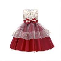 Girls Dresses Children Clothing Kids Clothes Wedding Lace Princess Sleeveless Bow Birthday Party Dress B8540