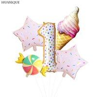 1 set rosa donut süßigkeiten eisfolie ballon glücklich geburtstag baby shower party dekoration mädchen nummer ballons nette kinder spielzeug