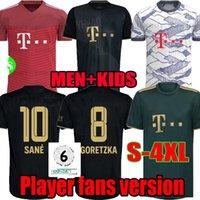 S-4XL 21 22 FC Bayern Munich Green Soccer Jerseys Lewandowski Sane 2021 2022 Version du joueur Version Musiala Muller Davies Shirt Football Hommes Enfants Set