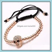 Charm Bracelets Jewelrygood Quality Mens 4Mm Copper Beads Men Braided Zircon Skl Bracelet Drop Delivery 2021 Fc0Hm