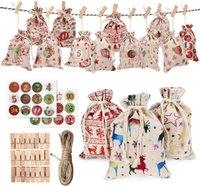 24 / Set decorativi e appesi piccoli sacchetti di stoffa Avvento calendario natale cotone in cotone sacchetto di lino set regalo numeri colorati GWE5282