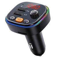 New Car BLUETOOTH kit colorful lights Support U disk SD card play Wireless Handsfree Fm Transmitter Mp3 Player with dual usb charger C20