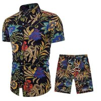 رياضية رياضية الرجال الكتان الصيف تنفس قصيرة الرجال تصميم قمصان الأزياء + السراويل رياضية مجموعة تتجه نمط M-5XL