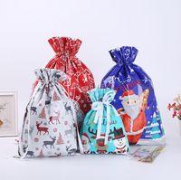 Weihnachtsgeschenk Geschenkbeutel Tunnelzug Santa Candy Sack Schneeflocke Neues Jahr Glück Taschen Dekorative Lagerung Verpackungsbedarf
