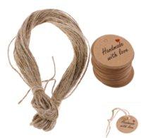 Handmade com etiquetas de amor pendurar tags em branco papel kraft string etiquetas etiquetas favores favores giftwith rápido embarque