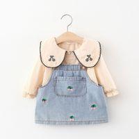 Kids Clothing Set Denim Suspender Dress+Top 2PC for Girls Fall 2021Children Boutique Clothes Korean Original Design 0-4T Outdoor Suits