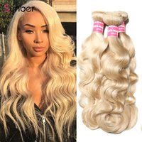 Human Hair Bulks Sunber Blonde Body Wave Extensions 10-24 Inch 1 3 Remy Weave Boundles #613 Malaysia Weft