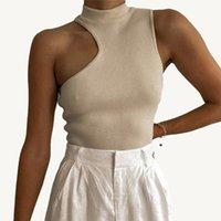 Women's Tanks & Camis Sexy Women Sleeveless Off Shoulder Slim Half Turtleneck Collar Tank Tops Casual Irregular Crop Top T Shirt Female Clot