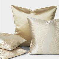 Cushion Decorative Pillow Luxury Gold Cushion Cover Decorative Case Modern Simple Champagne Color Leaf Geometric Jacquard Art Coussin Home D