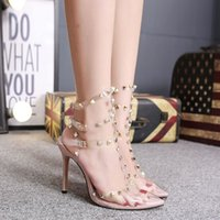 Luxury Dress Shoes Women's Pointed Liuding Transparent Pvc Sexy Slim Super High Heel Sandals 40
