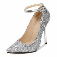 LLXF Zapatos Mujer 13cm Talons minces Boucle Stiletto Bing Sequins Chaussures Robe femme pointue Toe Cosplay Cosplay Pompes de bracelet US11 12 G7XC #