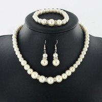 Earrings & Necklace Pearl Set Bracelet Three-piece Jewelry Combination Bridal Design Fashion Women Gift Vintage
