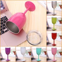 11 Colors 10oz Wine Glasses 304 Stainless Steel Double Wall Vacuum Tumbler Insulated Cups With Lids Red Cup SEAWAY EWF9138