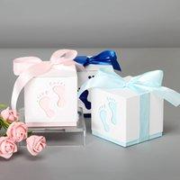 5 unids Baby Pies Candy Regalo Caja Cumpleaños Primera Comunión Niño Bebé Bebé Ducha Boda Favores Drageo Bautismo Caja de pastel Embalaje