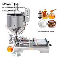 DHL Free Double Heads Mixing with Heater Filler Very Viscous Material Paste Sugar Chocolate Sauce Packaging Equipment Bottle Filling Machine