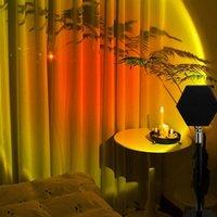 Flash Heads Dusk Projector Lamp Sunrise Atmosphere Led Night Light Home Bedroom Cafe Shop Po Background Wall Decoration