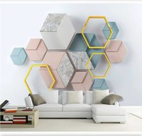 Anpassad tapet väggmålning 3d foto 8d stereo modern minimalistisk geometrisk marmor mosaik tv bakgrundsvägg