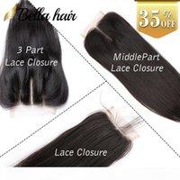 Nouveux venu 1Raie lace closure Cheveux tissages Queen Cheveux Products Malaisien Brazilian Peruvian Vierges Cheveux Humaines 4x4 Bella Hair
