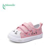 Bekamille 어린이 스포츠 신발 패션 만화 고양이 캐주얼 스니커즈 아이 신발 소녀 공주 학생 실행 신발 2 색 210309