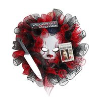 Decorative Flowers & Wreaths Creative Halloween Front Door Ghost Mask Wreath Hanging Garland Haunted House Decor Festival Party Ornaments