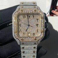 2021 Nuovo orologio quadrato MissFox per uomo Luxury Hiphop Full Iced Out Orologi Slivergold Moissanite / Crystal Zircon Diamonds con scatola e documenti